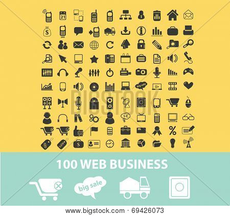 100 web business, internet techology, startup black flat icons, signs, symbols set, vector