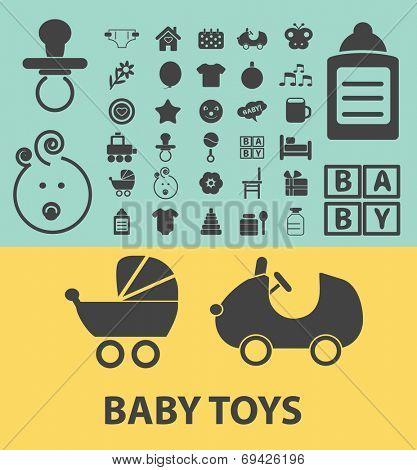 baby toys, children black flat icons, signs, symbols set, vector