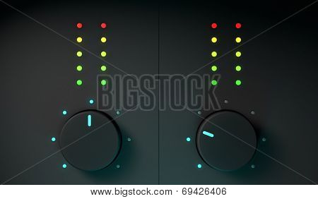 3d closeup of dj mixer equipment, frontal view