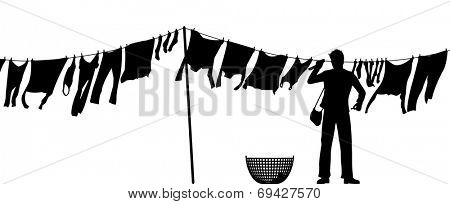 Illustrated silhouette of a man hanging clothes on a washing line