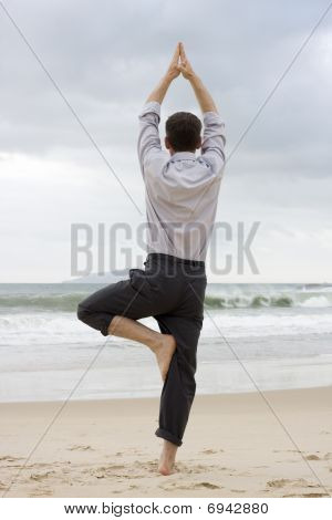 Businessman Doing Relaxation Exercises