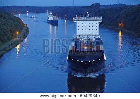 Beldorf (germany) - Container Vessel At Kiel Canal (retouched)