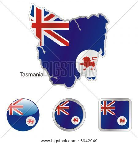 flag of Tasmania in map and web buttons shapes