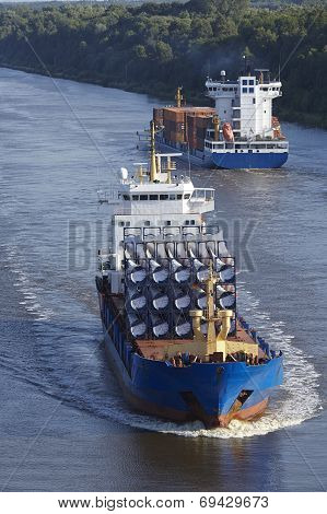 Beldorf (germany) - Cargo Vessel At Kiel Canal (retouched)