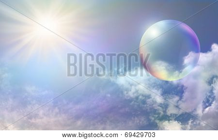 Blue Sky Bright Sun and Rainbow Bubble