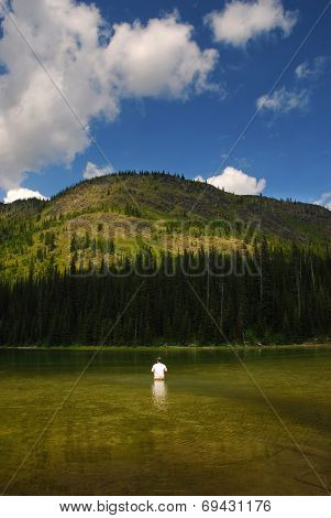 Mountain Lake Fisherman