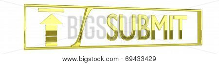 Glossy Golden Submit Icon - 3D Render Isolated On White