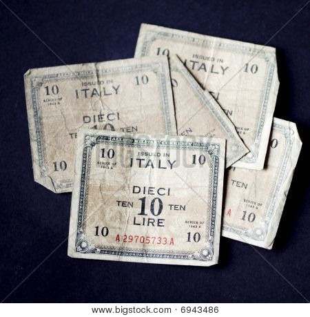 Five Very Old Italian Ten Lire Banknotes Issued In 1943 By The Allied Military Forces.