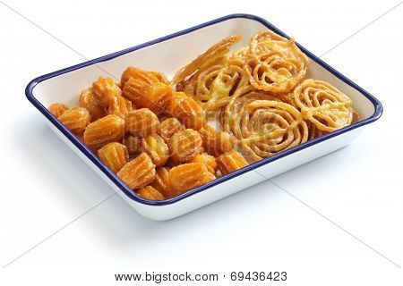 zoolbia & bamieh, iranian sweets isolated on white background