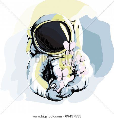 Illustration of Astronaut on White Background
