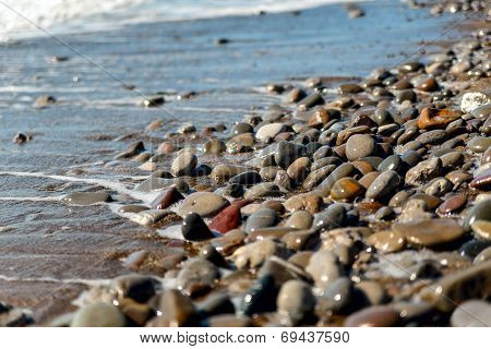 Sea Pebbles Washed By Wave