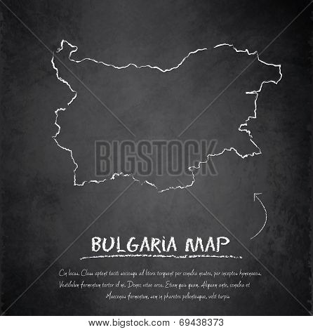 Bulgaria map blackboard chalkboard vector