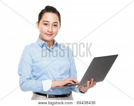 Mixed race business woman use laptop computer