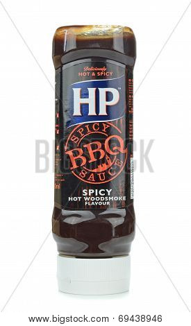 A bottle of HP brown BBQ sauce