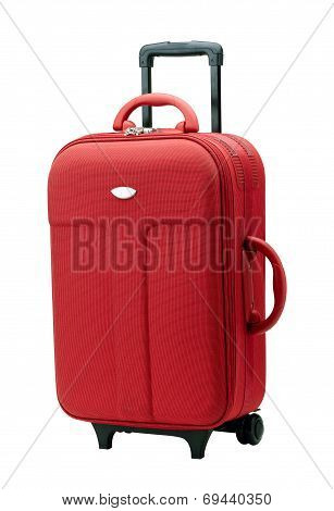 red luggage with three handles