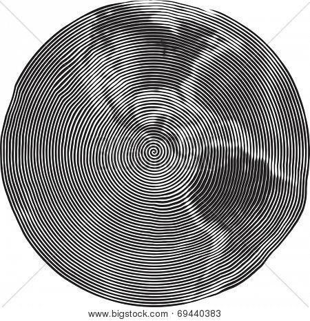Guilloche Vector Illustration of Earth Uzumaki stile