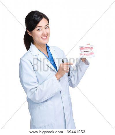 Asian female dentist show denture
