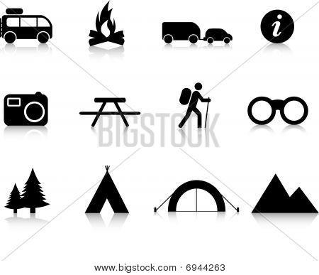 Camping icon set