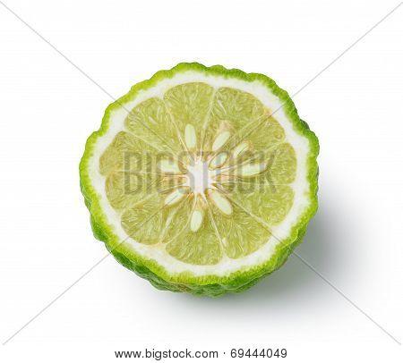 Kaffir Lime Slice Isolated On White Background
