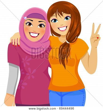 Muslim and Caucasian friends