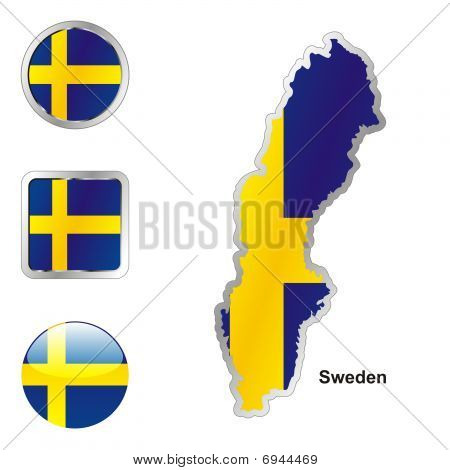 flag of Sweden in map and web buttons shapes