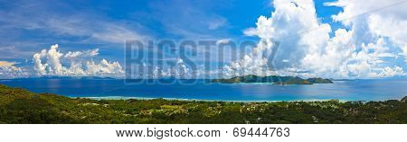 Panorama Of Island Praslin And Mahe At Seychelles