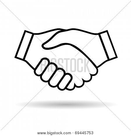 Illustration icon handshake isolated on white background for business.