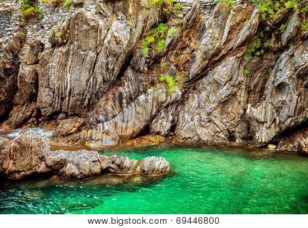 Beautiful lagoon, Europe, Italy, Cirque Terre, majestic cliffs over Mediterranean sea, gorgeous natural background, summer traveling concept