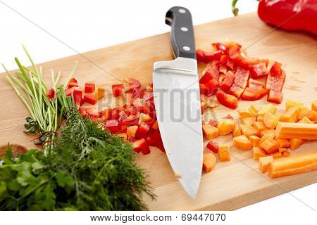 Knife And Chopped Vegetables