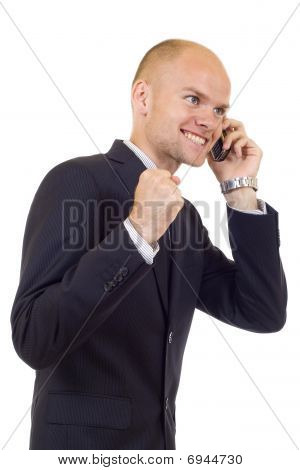 Businessman Discussing On A Cell Phone