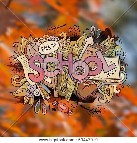 School autumn Vector hand lettering and doodles elements