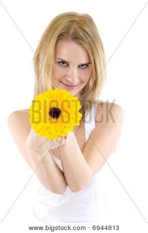 Portrait Of A Beautiful Woman With A Gerbera