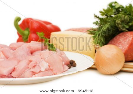 Hash And Ingredients On White Background