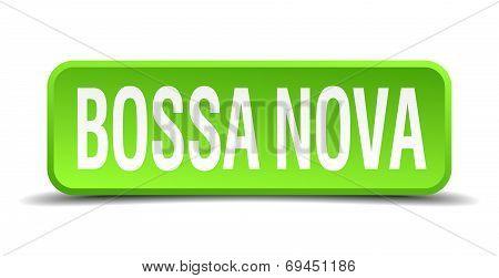 Bossa Nova Green 3D Realistic Square Isolated Button