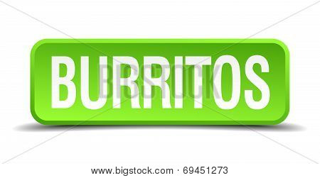 Burritos Green 3D Realistic Square Isolated Button