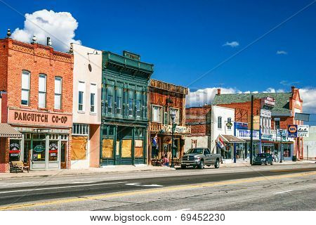 PANGUITCH, USA - MAY 7, 2007: Morning day at authentic street in style wild west. First settled by Mormon Pioneers in 1864 Panguitch is a Paiute Indian word, meaning