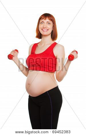 Happy pregnant woman do exercise, isolated on white background, lifting dumbbells, active lifestyle,