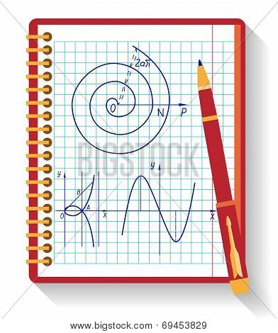 Notebook with vector mathematical function graph. Flat design.