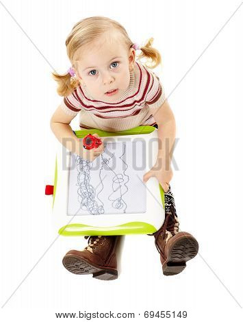 Preschool Girl Drawing On A Board