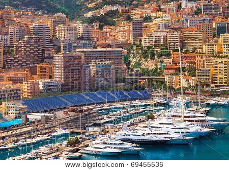 View of  Monaco harbour during formula 1 championship, Cote d'Azur
