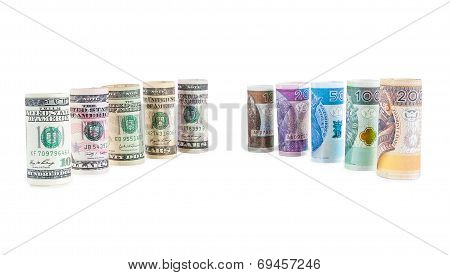 Rolled Dollar And Polish Zloty Banknotes