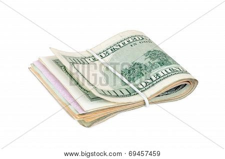 Dollar Bills Tied With A Rubber Band