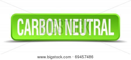 Carbon Neutral Green 3D Realistic Square Isolated Button