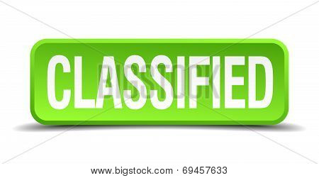 Classified Green 3D Realistic Square Isolated Button