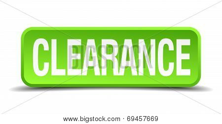Clearance Green 3D Realistic Square Isolated Button