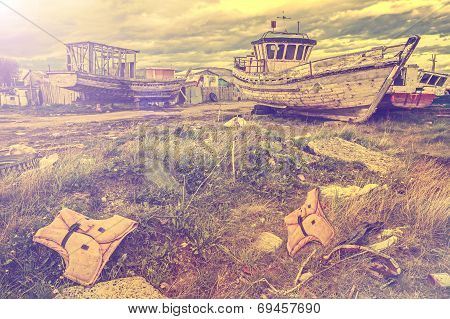 Old Boat Scrap Yard Vintage Style
