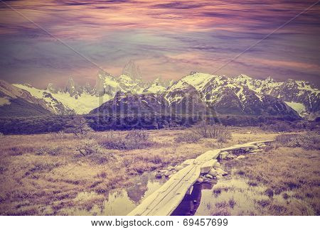 Vintage Picture Of Andes, Fitz Roy Mountain Range, Argentina