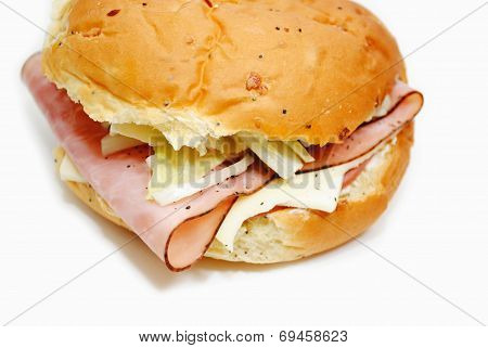 Ham And Cheese Deli Sandwich On An Onion Roll