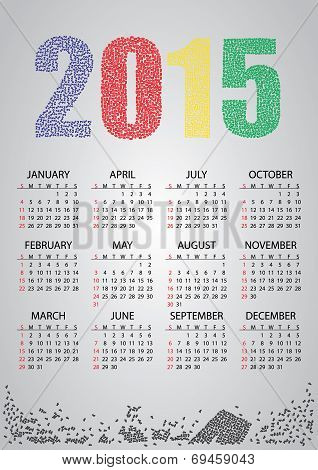 2015 Wall Calendar From Numbers Eps10