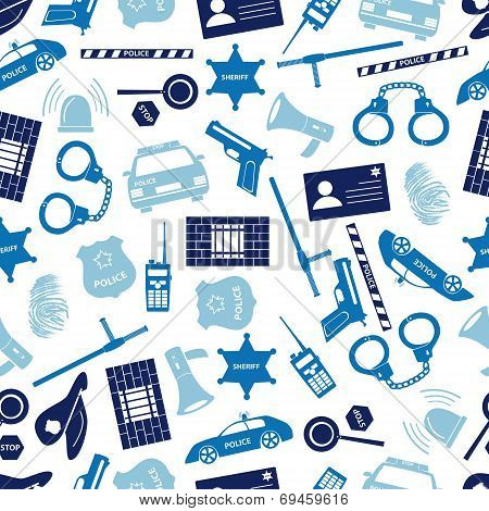 Police Icons Blue Color Seamless Pattern Eps10